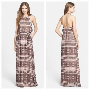 Jessica Simpson Animal Print Chiffon Maxi Dress
